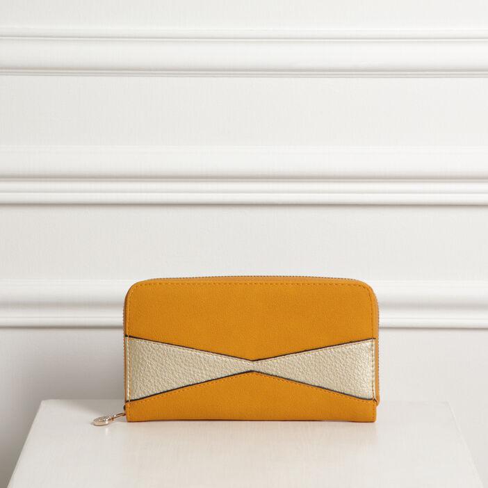 Pochette zippée effet grainé jaune or femme