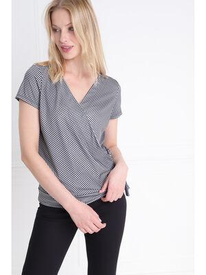 T shirt manche courte vichy cache coeur ecru femme