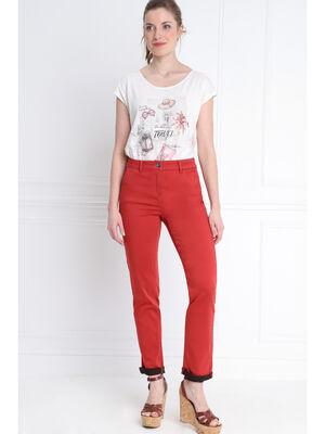 Pantalon taille basculee orange fonce femme