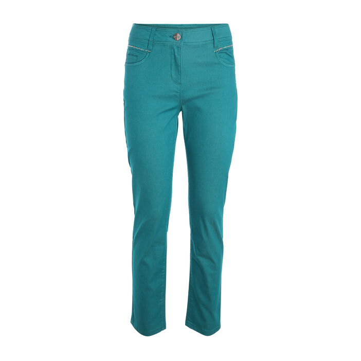Pantalon droit avec strass vert turquoise femme