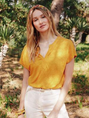 T shirt 100 lin jaune or femme