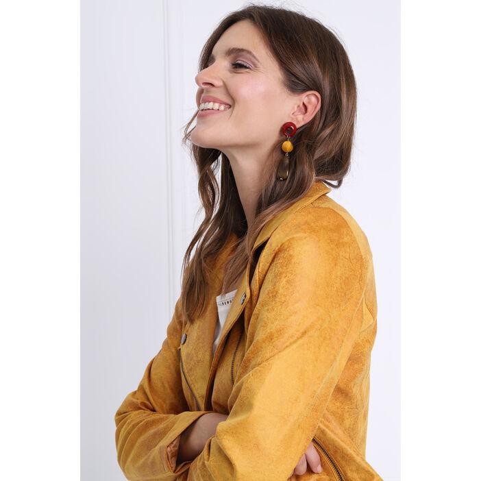 Boucles d'oreilles pendantes marron femme