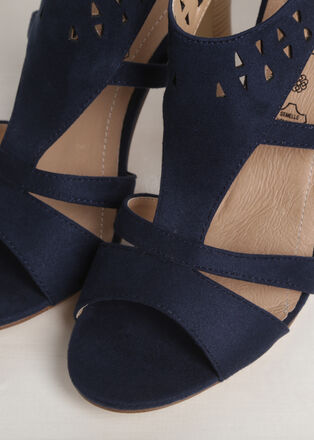 Escarpins a talons decoupes bleu femme