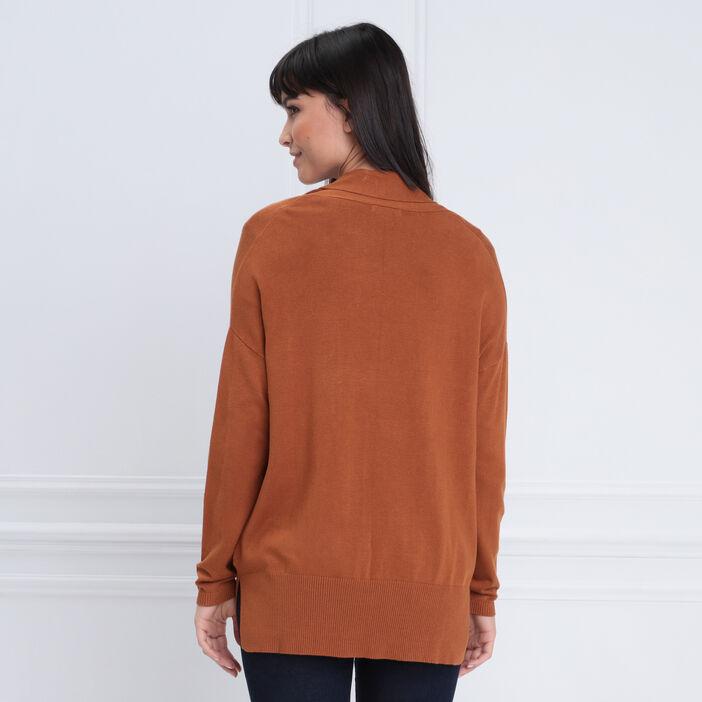 Gilet manches longues ouvert marron femme