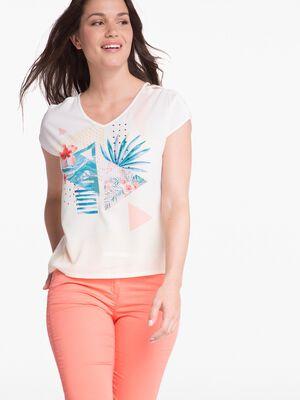 T shirt manches courtes imprime ecru femme