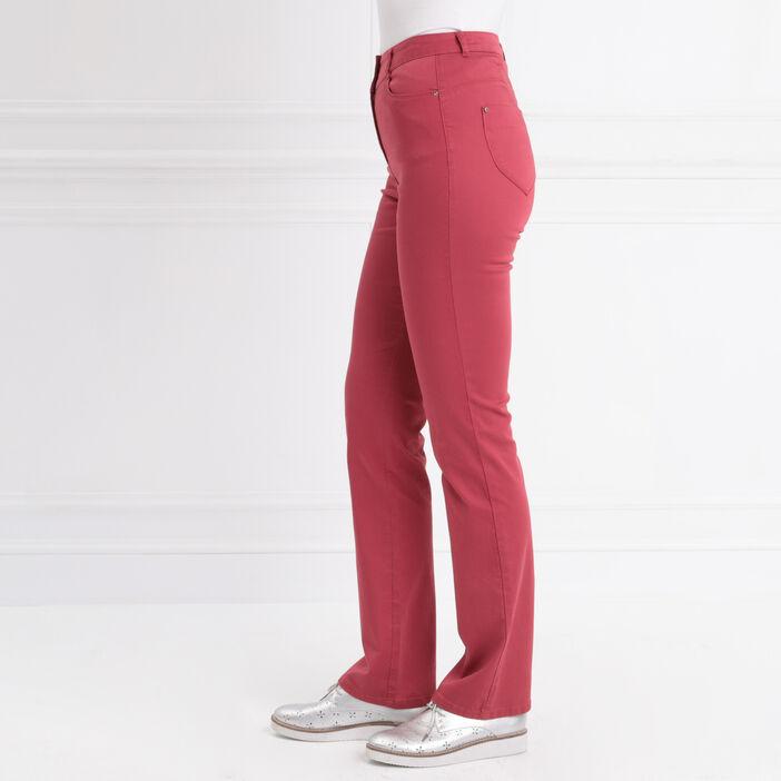 Pantalon droit taille haute bordeaux femme