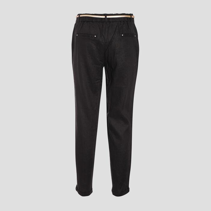 Pantalon chino taille standard noir femme