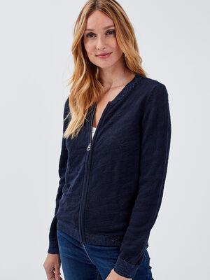 Gilet manches longues zippe bleu fonce femme