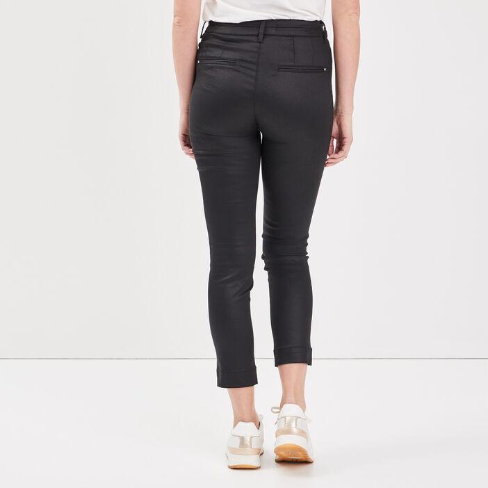Pantalon ajusté enduit noir femme