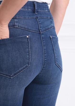 Jeans ajuste poches zippees taille haute denim brut femme