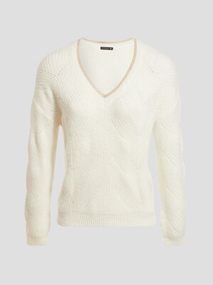 Pull manches longues creme femme