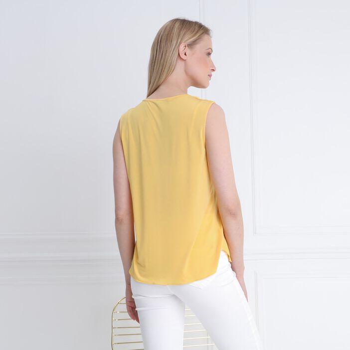 Débardeur col en V chaînettes jaune femme