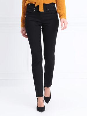 Pantalon ajuste taille standard noir femme