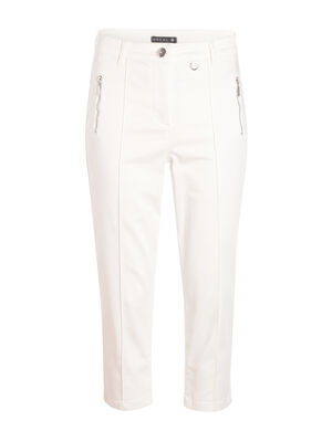Pantacourt avec poches zippes ecru femme