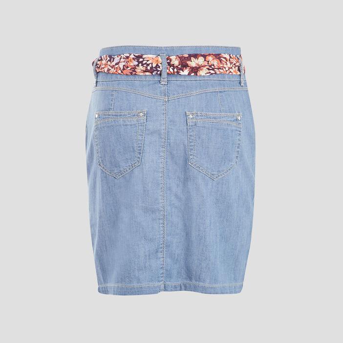 Jupe droite ceinturée en jean denim double stone femme