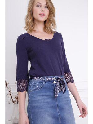 T shirt manches bas macrame 34 bleu femme