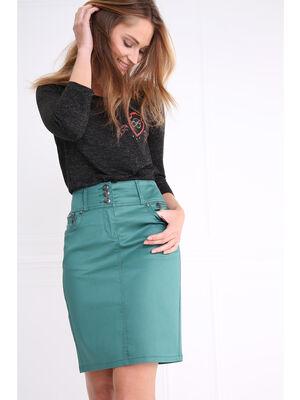 Jupe enduite zippee vert canard femme