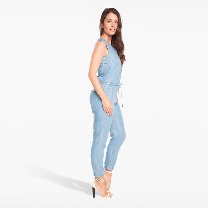 Combinaison pantalon sans manches denim bleach femme