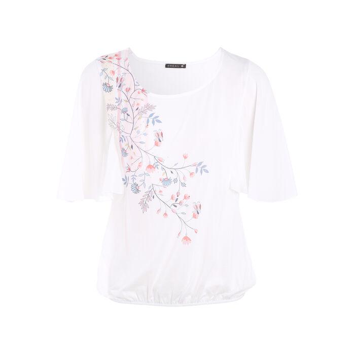 T-shirt manches 3/4 forme boule ecru femme