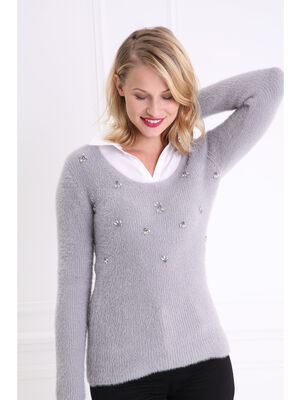 Pull col rond maille duveteuse gris fonce femme