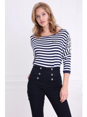 T shirt raye manches courtes bleu fonce femme