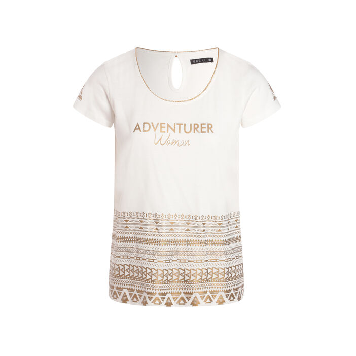 T-shirt imprimé géométrique doré ecru femme