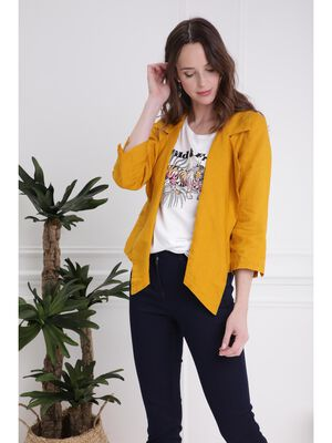 Veste fluide en lin jaune or femme