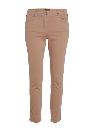 Pantalon peau de peche taille standard marron clair femme