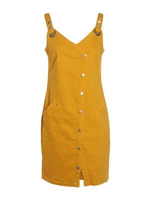 Robe bretelles jaune or femme