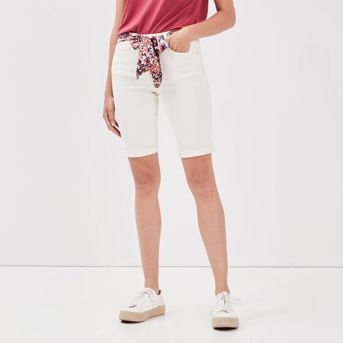 Short ajusté ceinture foulard creme femme