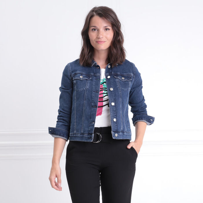 Veste cintrée en jean 4 poches denim stone femme