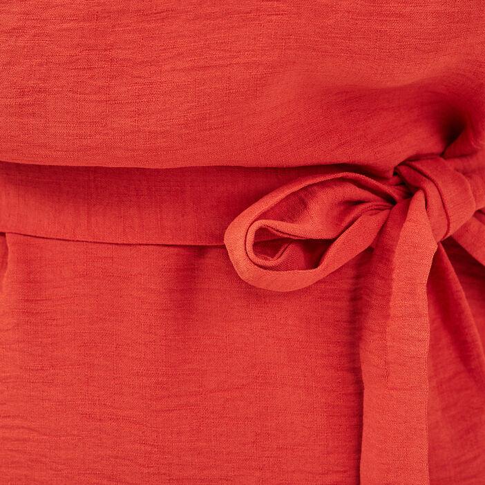 Robe droite ceinturée rouge corail femme