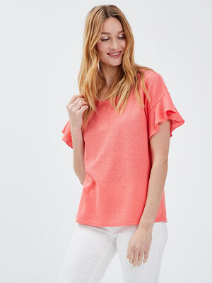 T shirt manches courtes orange clair femme
