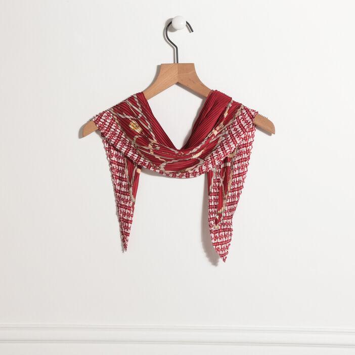 Foulard carré effet plissé bordeaux femme