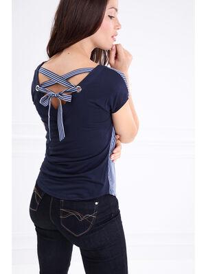T shirt col V a oeillets lace dos bleu marine femme