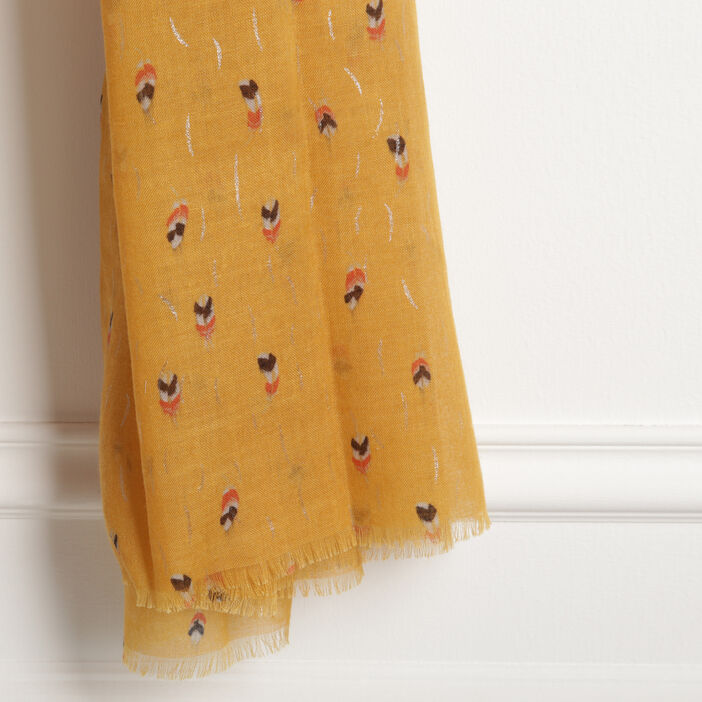 Foulard avec micro motifs jaune or femme