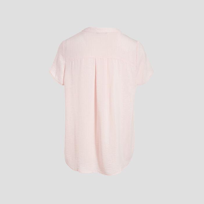 Blouse manches courtes rose poudrée femme