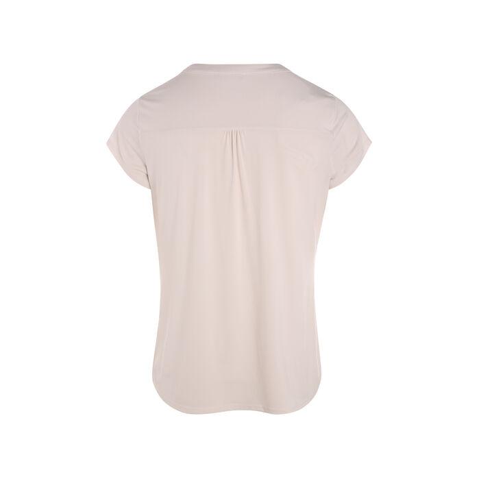 T-shirt manches courtes détail col ivoire femme