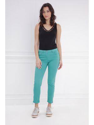 Pantalon 78 satin vert femme