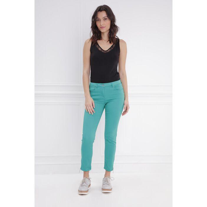 Pantalon 7/8 satin vert femme