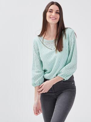 T shirt manches 34 vert pastel femme