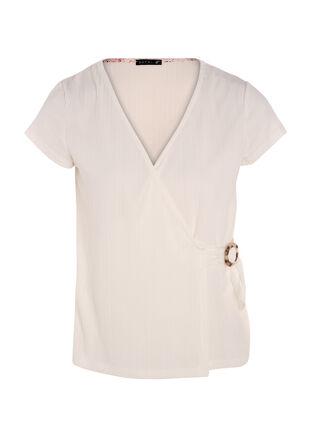 T shirt cache coeur avec boucle ecru femme