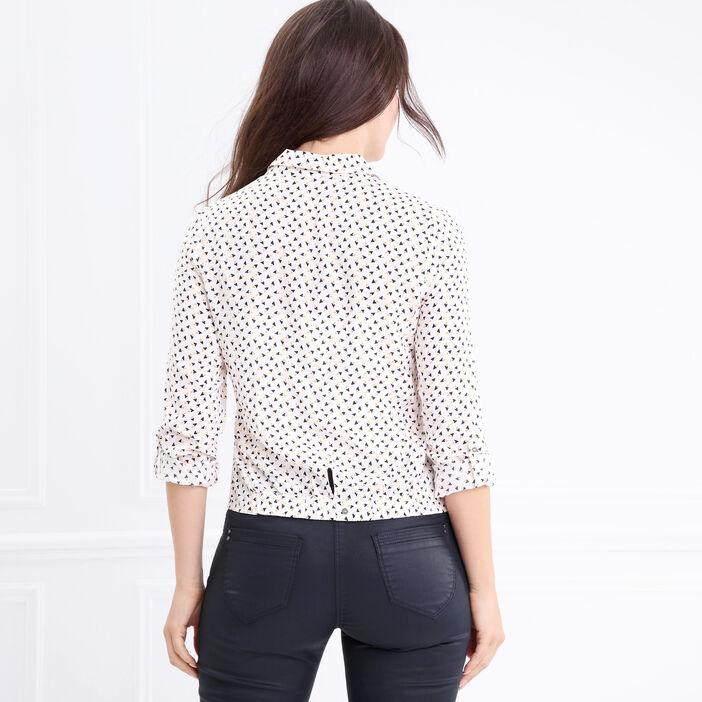 Chemise col français motif graphique blanc femme