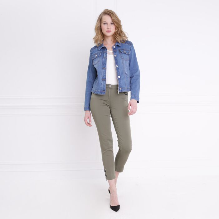 Veste en jean denim double stone femme