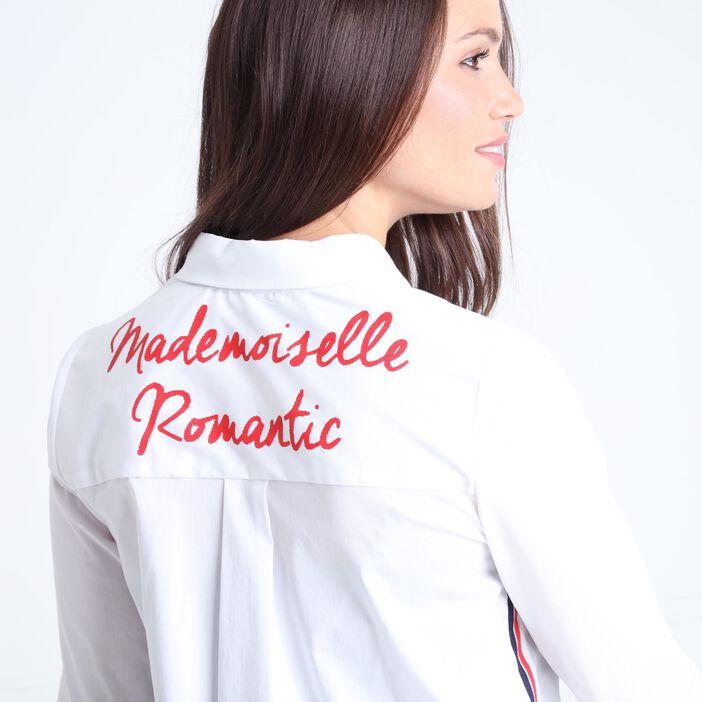 Chemise col français et liserés colorés ecru femme