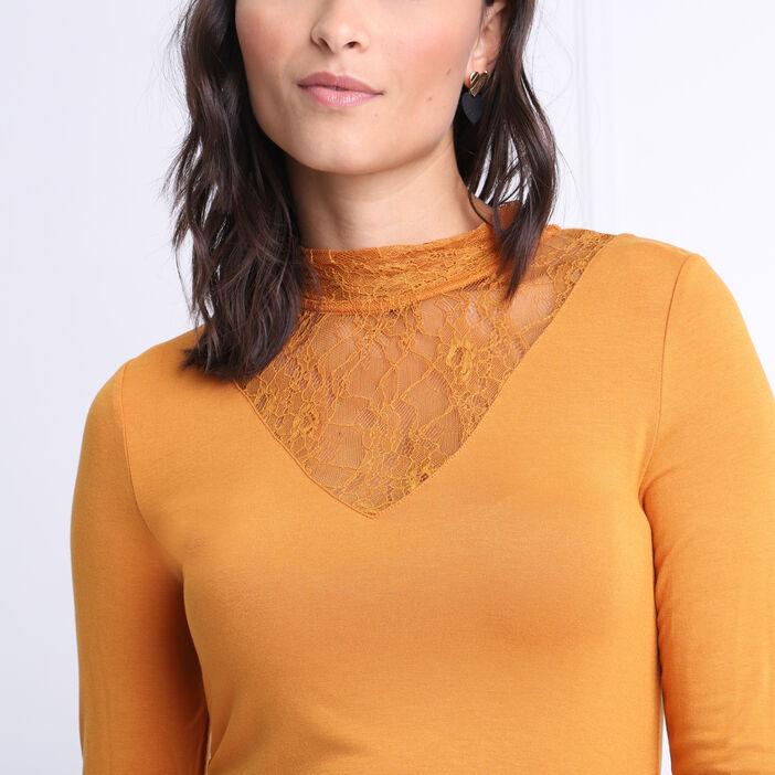 T-shirt manches longues jaune moutarde femme