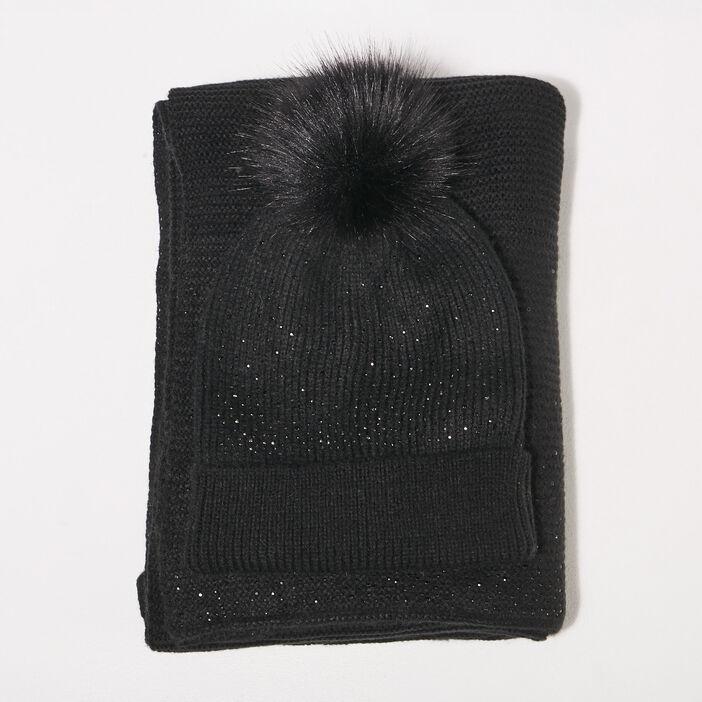 Lot bonnet et écharpe strass noir femme