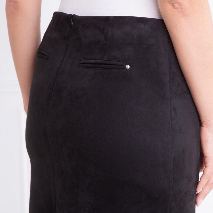 Jupe courte droite matière suédée noir femme