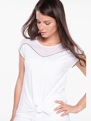 T shirt manches courtes avec detail blanc femme