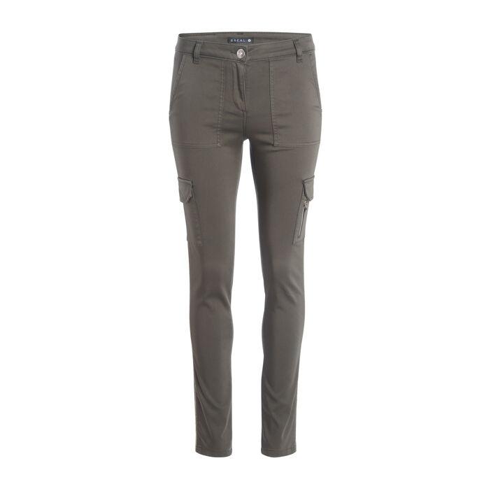 Pantalon ajusté poches à rabat vert kaki femme